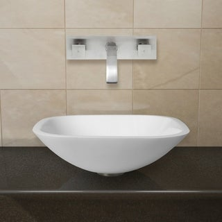 VIGO Square Shaped White Phoenix Stone Glass Vessel Sink/ Brushed Nickel Wall Mount Faucet