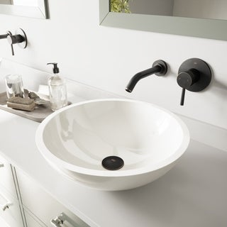 VIGO Flat Edged White Phoenix Stone Glass Vessel Sink with Antique Rubbed Bronze Wall Mount Faucet