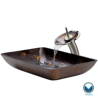 VIGO Rectangular Brown and Gold Fusion Glass Vessel Sink and Waterfall Faucet Set in Brushed Nickel