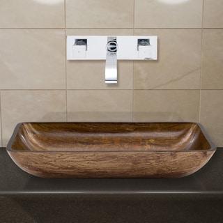 VIGO Rectangular Amber Sunset Glass Vessel Sink and Wall Mount Faucet Set in Chrome