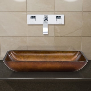 VIGO Rectangular Russet Glass Vessel Sink/ Chrome Wall Mount Faucet Set
