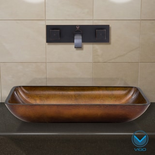 VIGO Rectangular Russet Glass Vessel Sink/ Antique Rubbed Bronze Wall Mount Faucet Set
