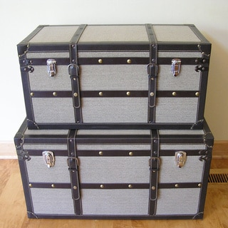 Decorative Vienna Wood Steamer Trunk Wooden Treasure Hope Chests (Set of 2)