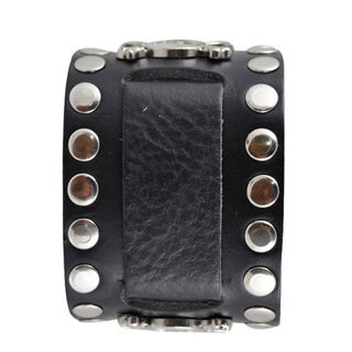 Nemesis Large Skull Stud Leather Black Band