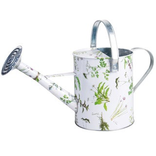 Herb Printed Galvinized Steel Watering Can