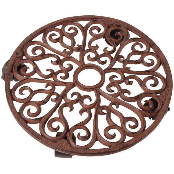 Large Scrollwork Design Cast Iron Plant Trolley