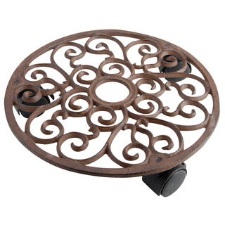 Round Cast Iron Scrollwork Plant Trolley