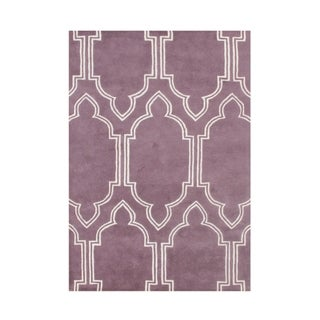 Hand Made Purple New Zealand Blended Wool 5x8 Rug