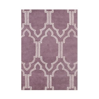 Hand Made Purple New Zealand Blended Wool 8x10 Rug