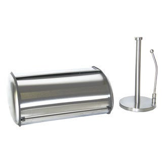 Prime Pacific Brushed Stainless Kitchen Counter Breadbox Paper Towel Set