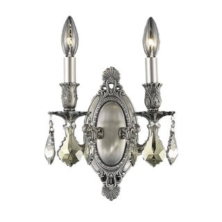 Christopher Knight Home Aubonne Royal Cut Crystal and Pewter 2-light Wall Sconce