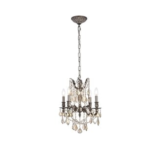 Christopher Knight Home Zurich 4-light Royal Cut Gold Crystal and Pewter Chandelier