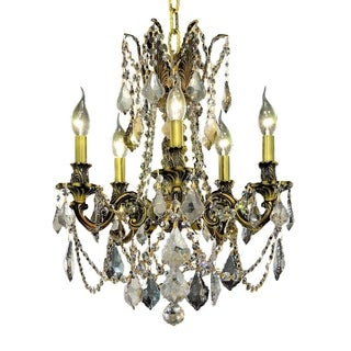 Christopher Knight Home Meilen 5-light Royal Cut Gold Crystal and Antique Bronze Chandelier