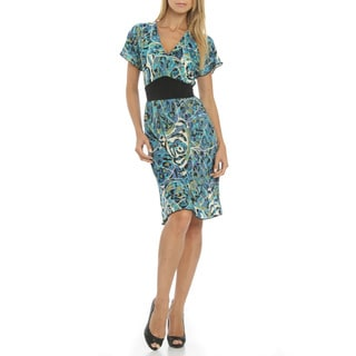 Women's Turquoise Print Banded Waist V-neck Dress