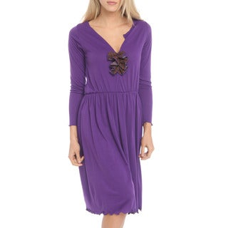 Women's Purple Long Sleeve Dress