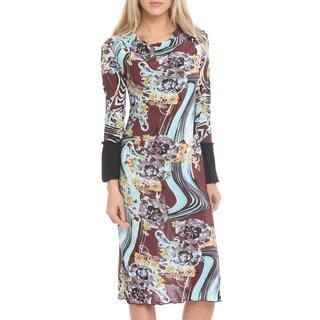 Women's Brown Multi-print Cowl Neck Dress