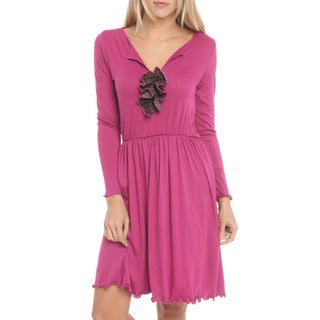 Women's Fuchsia Long Sleeve Dress