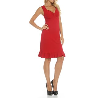 Women's Red Sleeveless Ruffled Trim Dress