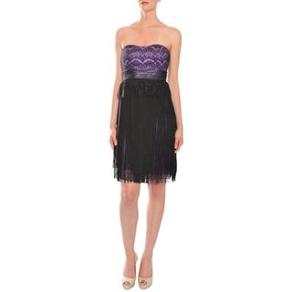 Mikael Aghal Women's Black/ Lilac Fringed Strapless Cocktail Evening Dress