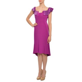 Women's Magenta Sequin Collar Knee-length Dress
