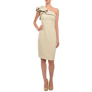 Carmen Marc Valvo Women's Sand One-shoulder Crepe Ruffled Evening Dress