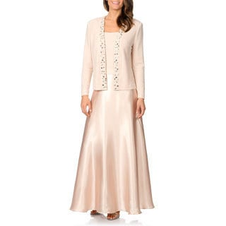 Cachet Women's Champagne Mock 2-piece Jacketed Dress