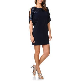 Cachet Women's Navy Cold Shoulder Sequined Dress