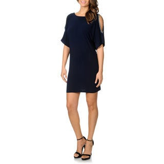 Cachet Women's Navy Cold Shoulder Jersey Knit Dress