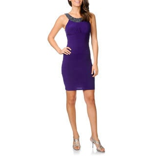 Cachet Women's Purple Embellished Neck Cocktail Dress