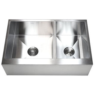 33-inch 16-gauge Farmhouse Double 60/40 Bowl Flat Apron Kitchen Sink