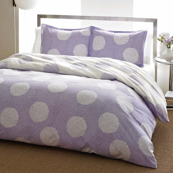 City Scene Raindance Wisteria Cotton 3-piece Duvet Cover Set