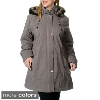 Nuage Women's Plus Size Lycroft Jacket w/Detachable Faux Fur Hood