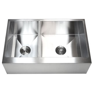 33-inch 16 Gauge Stainless Steel Farmhouse 40/60 Double Bowl Kitchen Sink