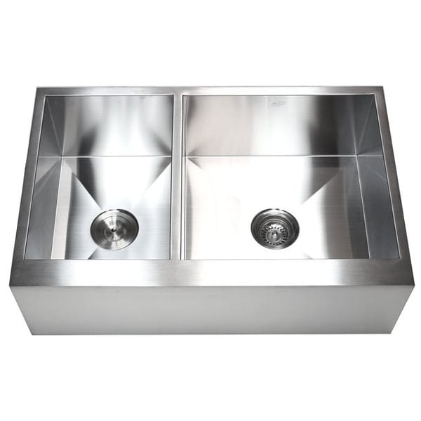 33 Inch Stainless Steel Farmhouse Sink : 33-inch 16 Gauge Stainless Steel Farmhouse 40/60 Double Bowl Kitchen ...