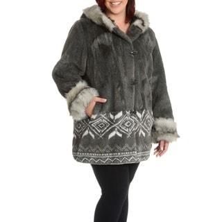 Nuage Women's Plus Size Marco Faux Fur Scene Coat