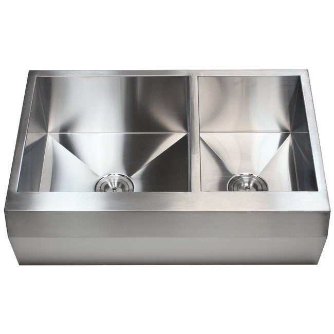 33 Inch Stainless Steel Farmhouse Sink : 33-inch 16 Gauge Stainless Steel Farm Apron 60/ 40 Well Angled Double ...