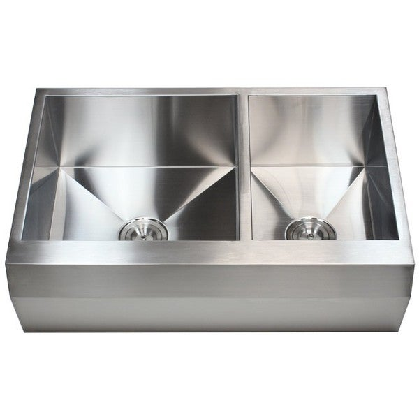 33-inch 16 Gauge Stainless Steel Farm Apron 60/ 40 Well Angled Double Bowl Kitchen Sink