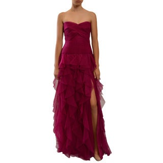 Women's Magenta Strapless Ruffle Pleated Tulle Evening Gown