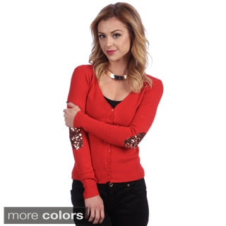Tabeez Women's Sequined Elbow Patch Cardigan