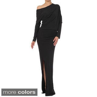 Tabeez Women's Black Off-shoulder Long Jersey Dress