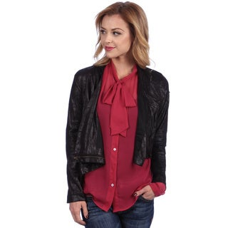 Tabeez Women's Black Crushed Vegan Leather Racer Jacket