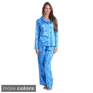 Jasmine Rose Women's Printed Brushed Back Satin 2-piece Pajama Set