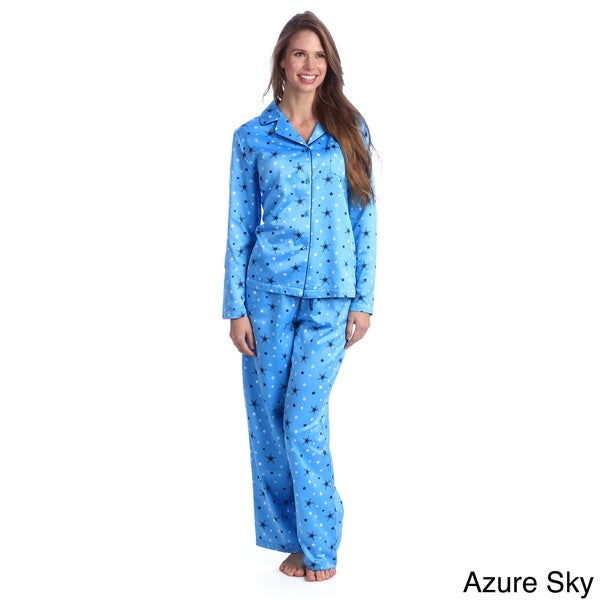 Jasmine Rose Women's Printed Brushed Back Satin 2-piece Pajama Set