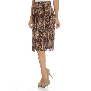 Club LA Women's Brown Printed Knee-length Skirt