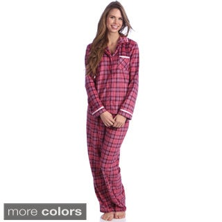Jasmine Rose Women's Printed Sueded Mink 2-piece Pajama Set