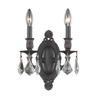 Christopher Knight Home 'Aubonne' 2-light Royal Cut Crystal/ Antique Bronze Wall Sconce