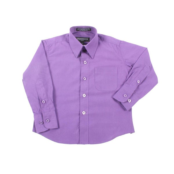 Ferrecci Boys Slim Fit Purple Collared Formal Shirt