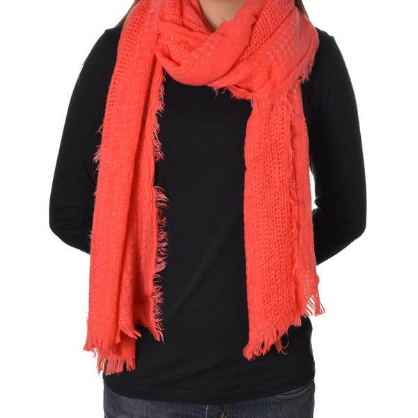 Coral Red Soft Gauze Scarf