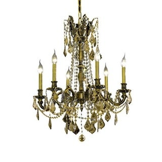 Christopher Knight Home Lucerne 6-light Royal Cut Gold Crystal and Antique Bronze Chandelier