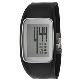 Philippe Starck Men's 'Digital' Stainless Steel Digital Black Strap Rounded Chronograph Watch